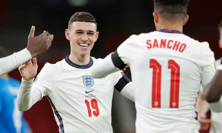 Phil Foden celebrates scoring his first goal for England, four minutes before he grabbed his second in the crushing Nations League win over Iceland.