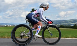 Dines on the road in the UCI Para-Cycling Road World Championship, Switzerland. She argues that the shape of the saddle and modern bikes force the body into a position that can create friction injury.