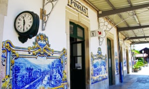 Pinhão railway station, with its traditional blue-tiled walls.