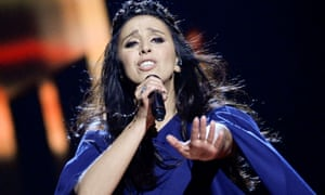 Jamala representing Ukraine performs the song 1944 during the Eurovision Song Contest semi-final.