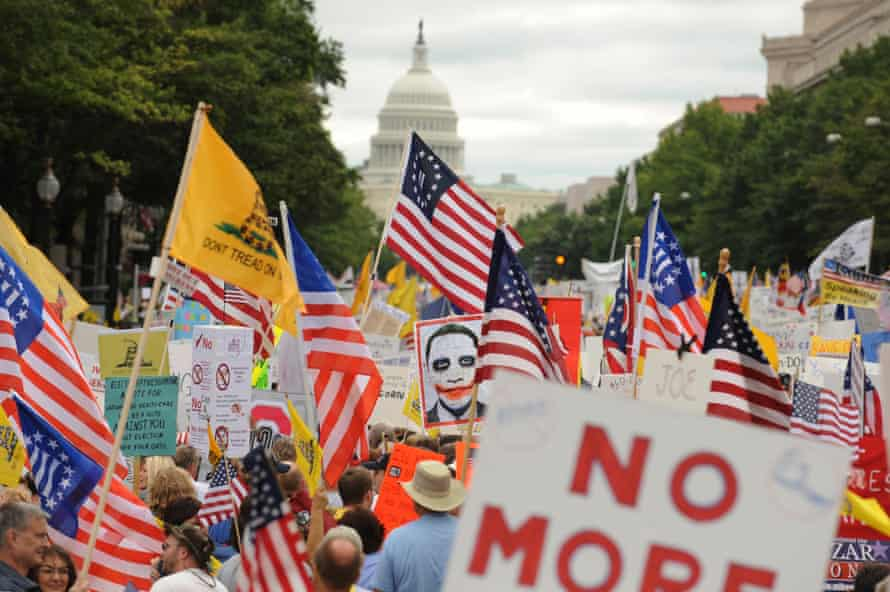 A Tea party march in Washington to protest against the healthcare reform proposed by Barack Obama in 2009.
