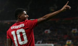 Marcus Rashford of Manchester United celebrates scoring a goal in a Europa League match against Partizan at Old Trafford on 7 November 2019.