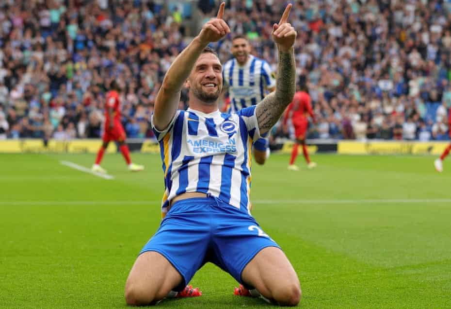 Shane Duffy celebrates scoring Brighton's opener against Watford
