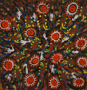 Egrets and Woollybutt Flowers by Mary Kunyi, 1994