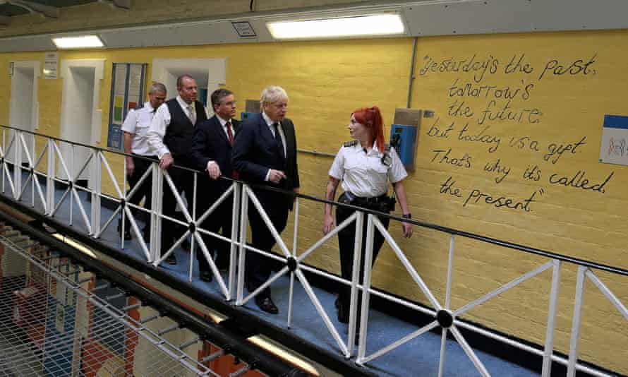 Boris Johnson is seen during a visit to HMP Leeds last year.