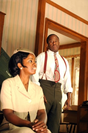 Lorna Brown (Francine) and Msamati (Albert) in Clybourne Park by Bruce Norris at Royal Court in 2010. Directed by Dominic Cooke