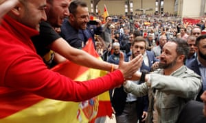 Santiago Abascal, leader of the far-right Vox party in Spain, at a rally in Alicante in April.