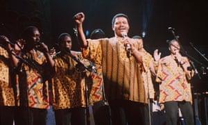 Joseph Shabalala performing with Ladysmith Black Mambazo at the Royal Albert Hall, London, in 1996.