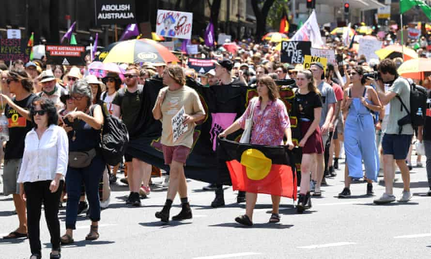 People take part in an Invasion Day rally in Sydney