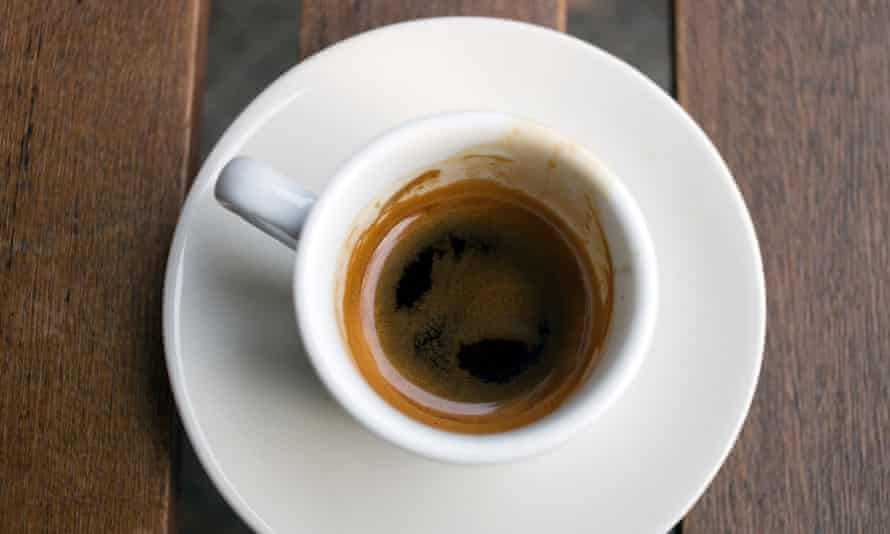 Cup of espresso from which a sip was taken