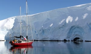 An ice-strengthened yacht in Antartica
