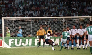 Paul Parker's attempt to block a free-kick from Andreas Brehme deflects off him and over Peter Shilton into the England net during the Italia 90 semi-final