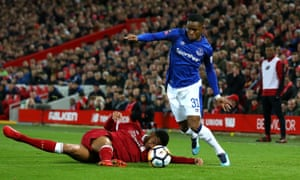 Ademola Lookman skips past Liverpool's Joe Gomez during the FA Cup third round match on January 5.
