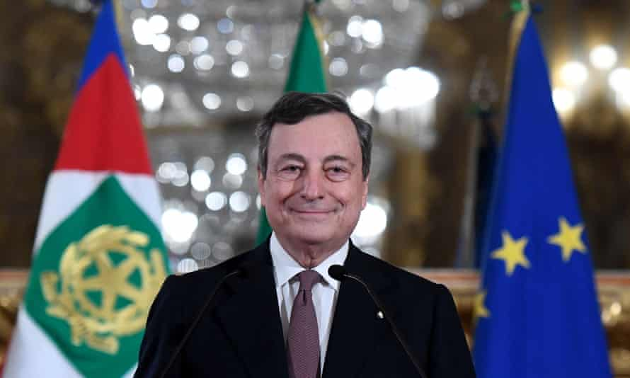 Mario Draghi addressing the media to announce his list of ministers after a meeting with Italian president Sergio Mattarella.