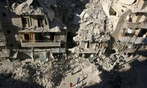 Rubble after an airstrike in Tariq al-Bab, Aleppo