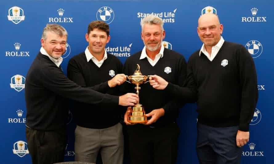 Darren Clarke, Paul Lawrie, Padraig Harrington and Thomas Bjorn pose with the Ryder Cup trophy