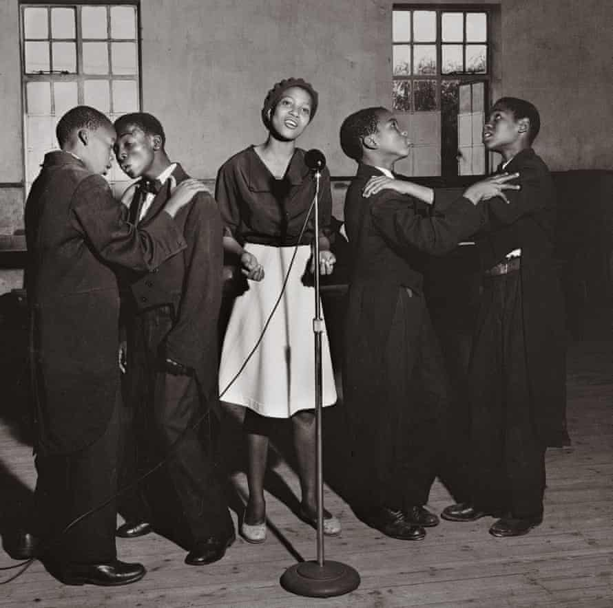 The Midnight Kids, a group of young vocalists from Western Township, Johannesburg, performing in Sophiatown, 1954.