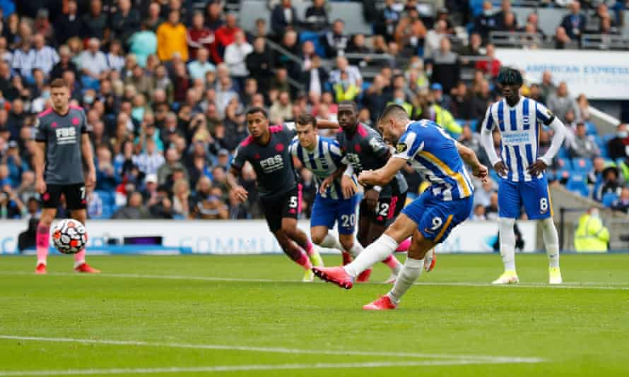Neal Maupay scores Brighton's first goal from the penalty spot