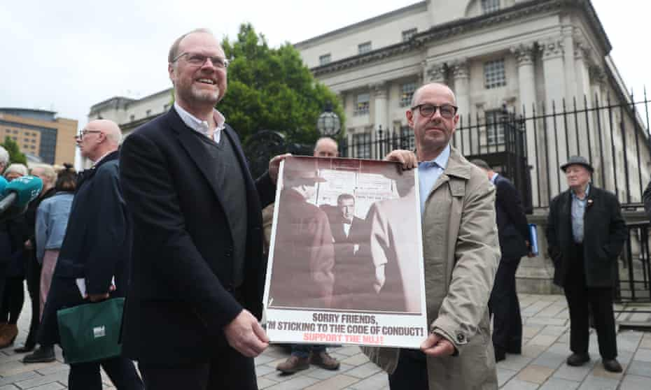 Journalists Trevor Birney (left) and Barry McCaffrey in Belfast last year after judges ruled police search warrants against them illegal.
