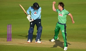 Ireland's bowler Curtis Campher celebrates taking the wicket of England's batsman Tom Banton.