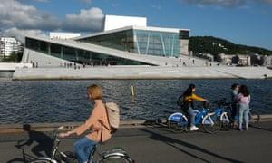 People outside the Oslo Opera House.