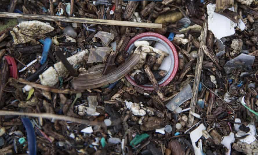Plastics and other detritus line the shore of the Thames Estuary in Rainham, Kent