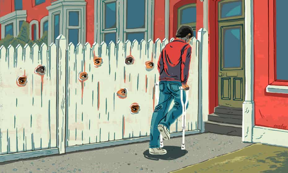 Illustration, of eyes at holes in fence to spy on man on crutches, being  by Eva Bee