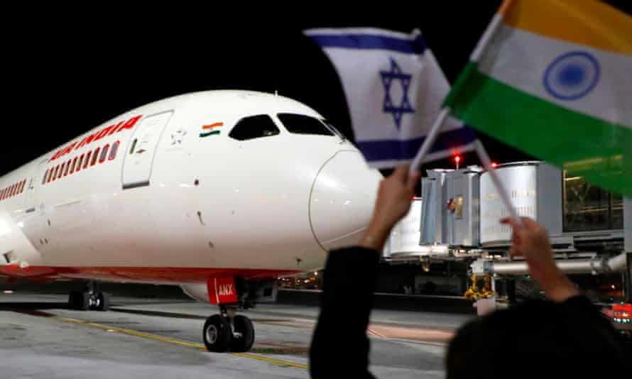 The Air India Boeing Dreamliner arrives at Ben Gurion airport in Israel