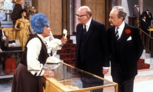 Nicholas Smith, centre, as Mr Rumbold, with Mollie Sugden as Mrs Slocombe and Frank Thornton as Captain Peacock in a episode of Are You Being Served?