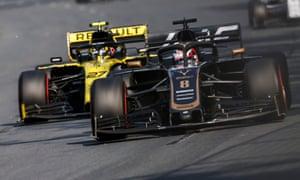 Romain Grosjean leads Nico Hulkenberg.