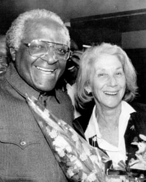 Gordimer with Archbishop Desmond Tutu in 1991, just after her Nobel win was announced.