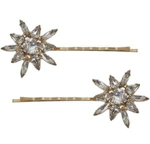 """£115, by Jennifer Behr from l<a href=""""http://www.liberty.co.uk/fcp/product/Liberty//Gold-Tone-Thea-Swarovski-Bobby-Pins/123256"""">iberty.co.uk</a>"""