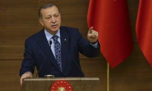 Turkish president Recep Tayyip Erdoğan at a conference in Ankara