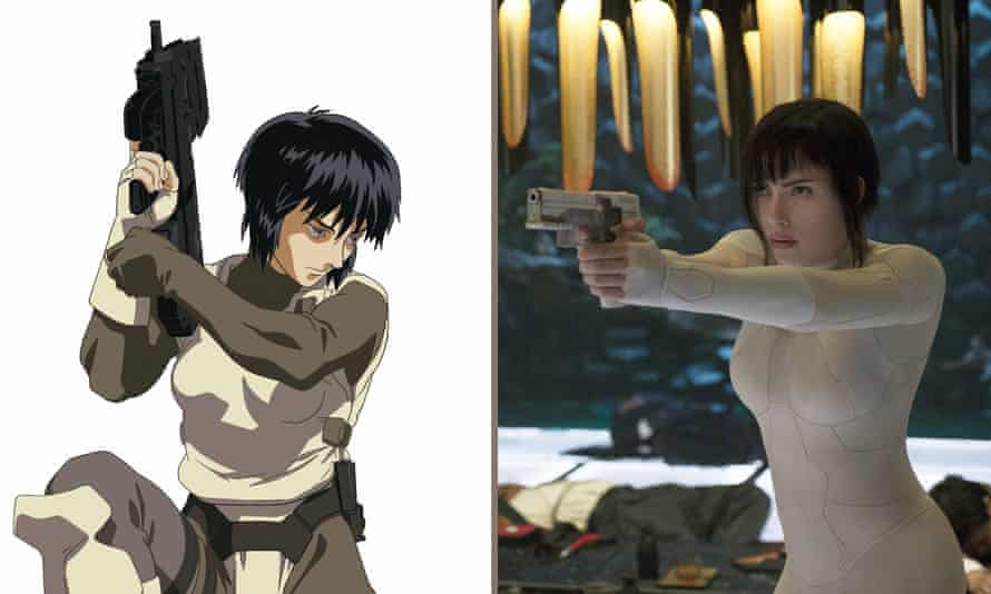 Whitewash? Scarlett Johansson in Ghost in the Shell (right) and her character in the original anime movie.