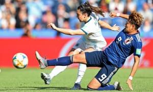 Agustina Barroso of Argentina is challenged by Yuki Sugasawa of Japan.