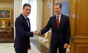 Spanish prime minister Pedro Sanchez, left, meets Spain's King Felipe at the Zarzuela Palace in Madrid