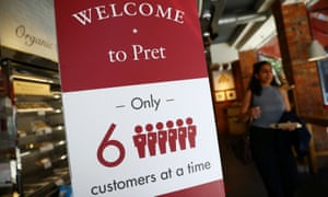 A social distancing sign at a Pret a Manger in London.