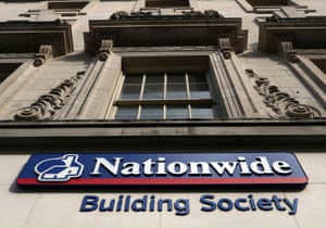 Signage outside a Nationwide Building Society branch in London.