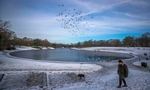 Freezing conditions at Liverpool's Sefton Park Lake
