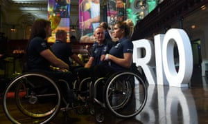 Australian Paralympic team training partners Angie Ballard (left) and Madison de Rozario (far right)