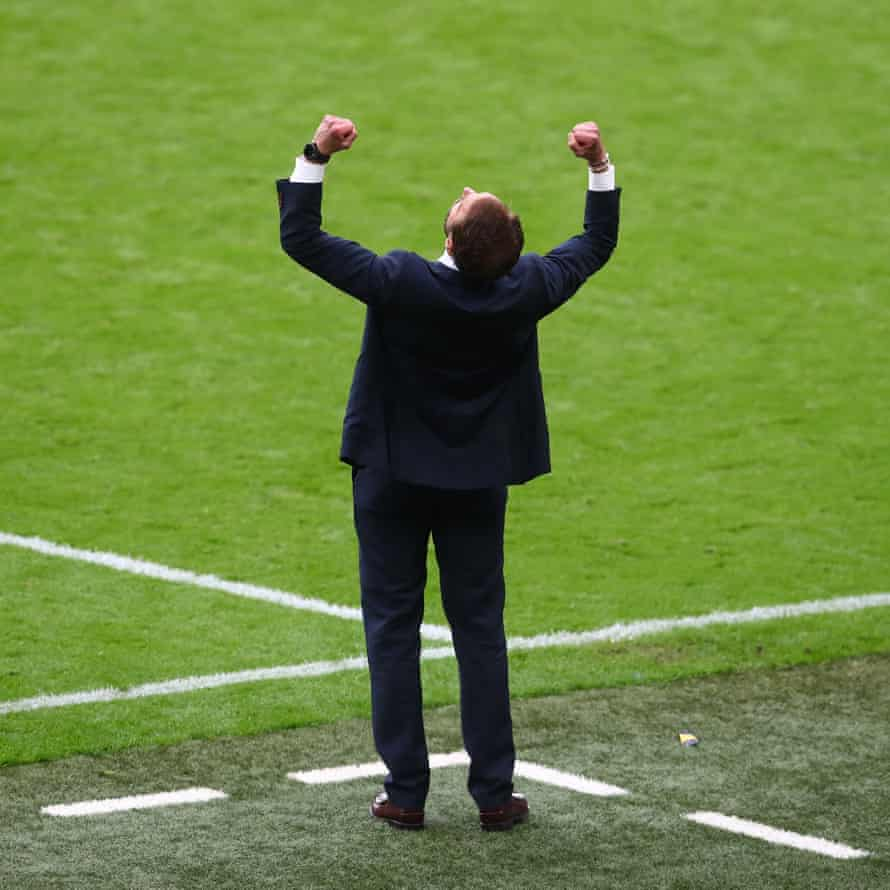 England manager Gareth Southgate celebrates.