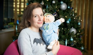 Hadley Freeman with a Cabbage Patch Kid Preemie.