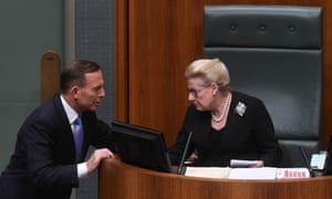 Tony Abbott talks to Bronwyn Bishop during question time on 30 September 2014. On Sunday the prime minister announced Bishop was stepping down as Speaker.