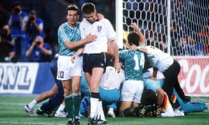 Chris Waddle is consoled by Lothar Matthaus after missing his penalty in the shootout. Waddle stepped up after Gascoigne felt unable to take a spot-kick.