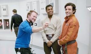 Rian Johnson, John Boyega and Oscar Isaac while filming Star Wars: The Last Jedi at Pinewood Studios.