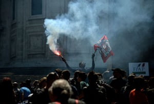 Protest against a demonstration of Italian far-right political movement CasaPound in Rome