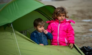 Children at a refugee camp in Greece.