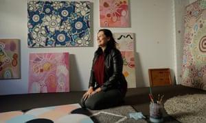 Indigenous artist Karen Lee at her studio in Glenmore Park, NSW, Australia