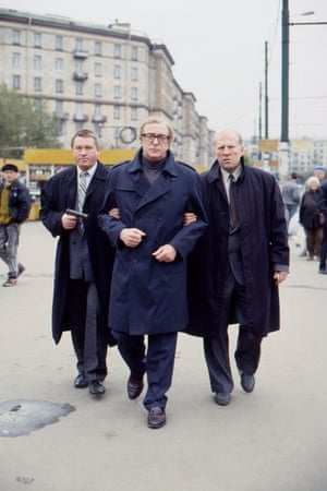 Michael Caine on the set of the political thriller Midnight in Saint Petersburg, 1996
