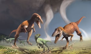 An artist's impression of a pair of Gualicho dinosaurs pursuing prey.